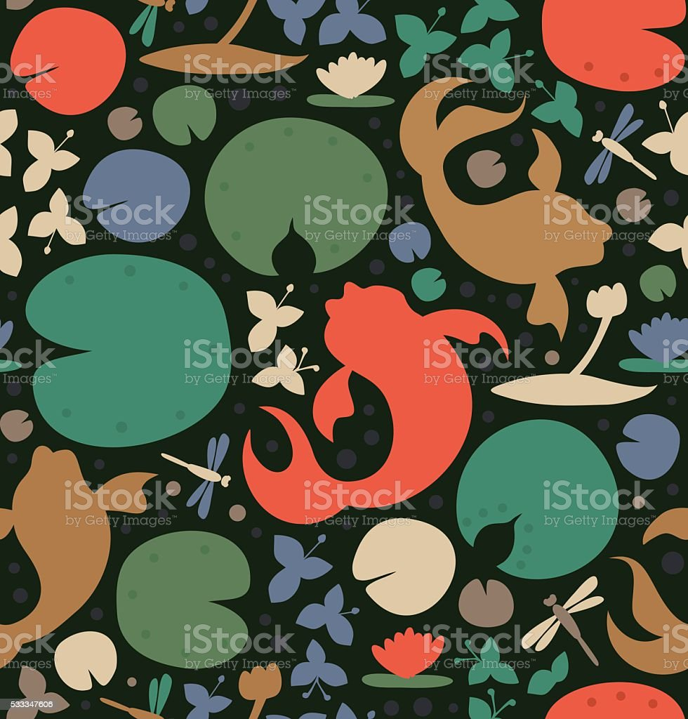 Seamless pattern with inhabitants of the pond. vector art illustration
