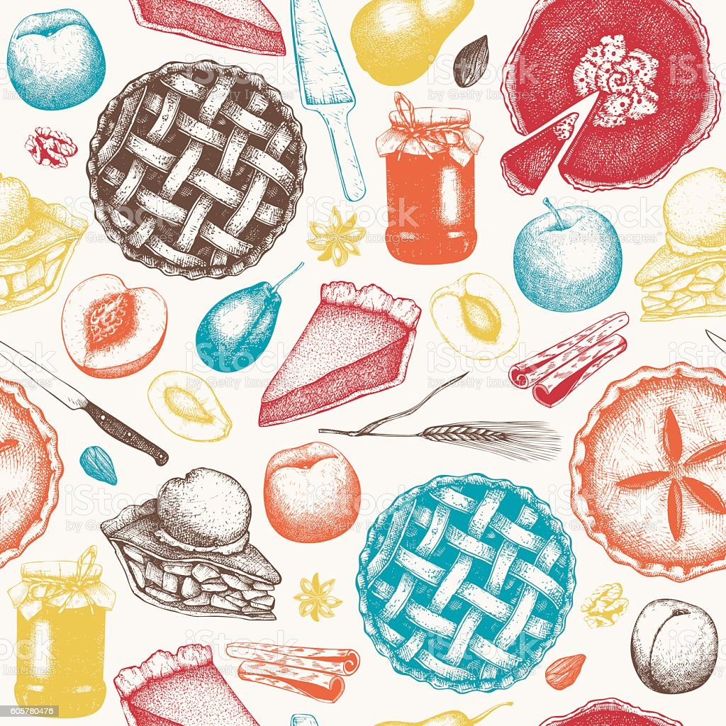 Seamless pattern with ink hand drawn fruit desserts sketch. vector art illustration