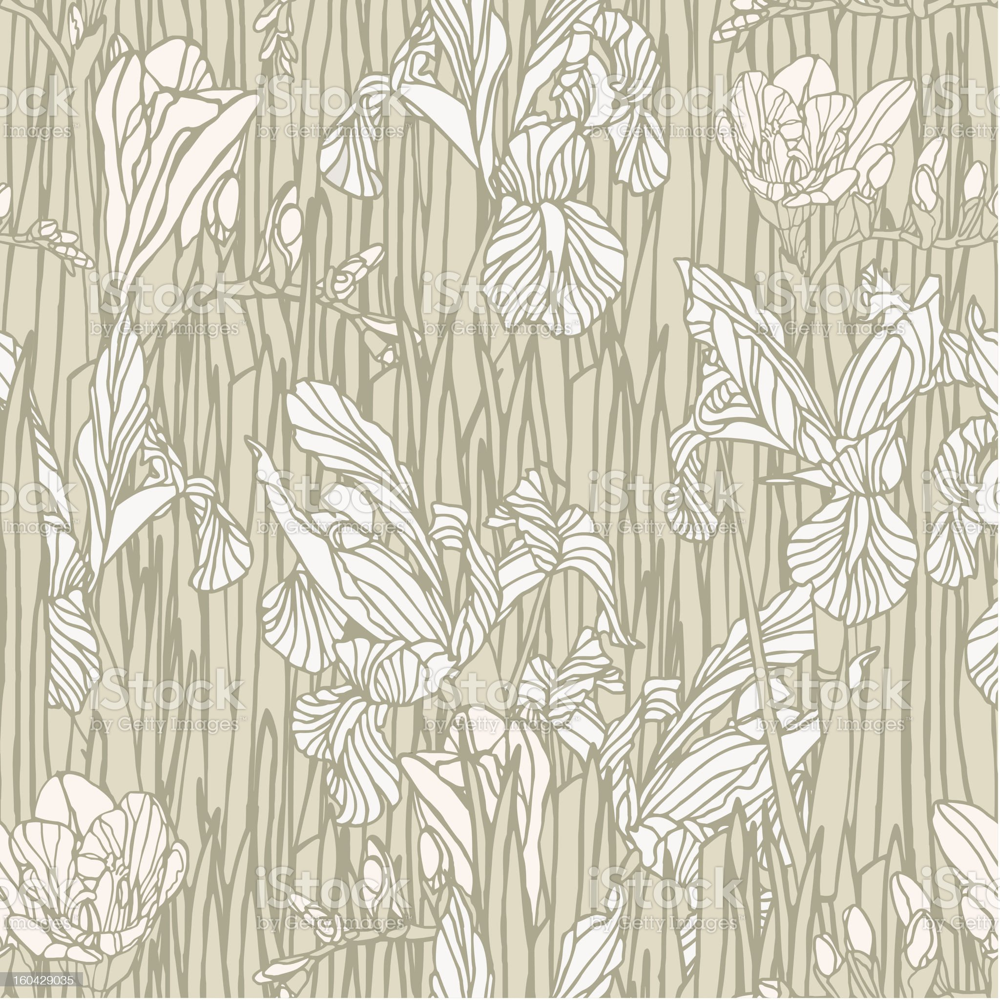 Seamless pattern with irises flowers royalty-free stock vector art