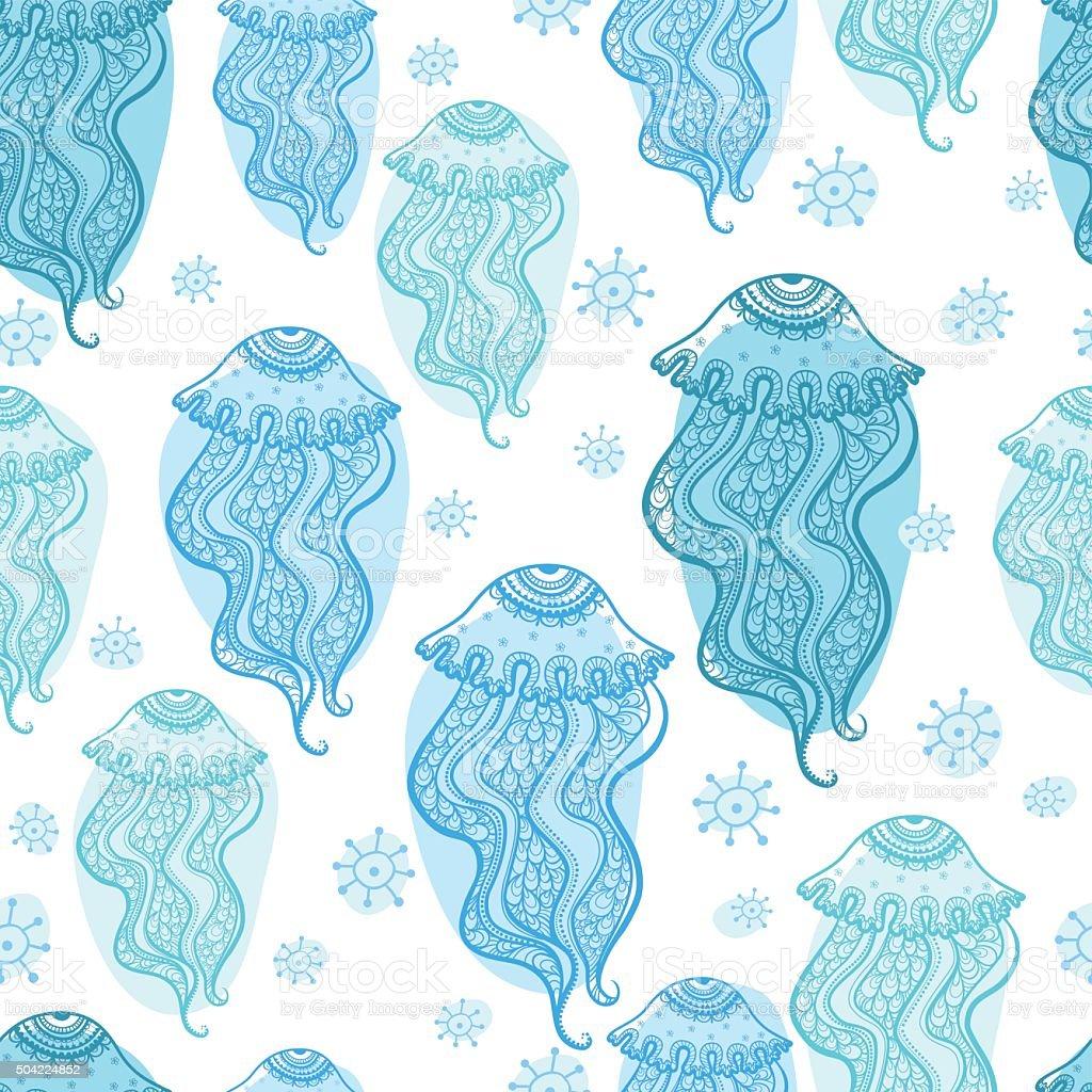 Seamless pattern with jellyfish. vector art illustration
