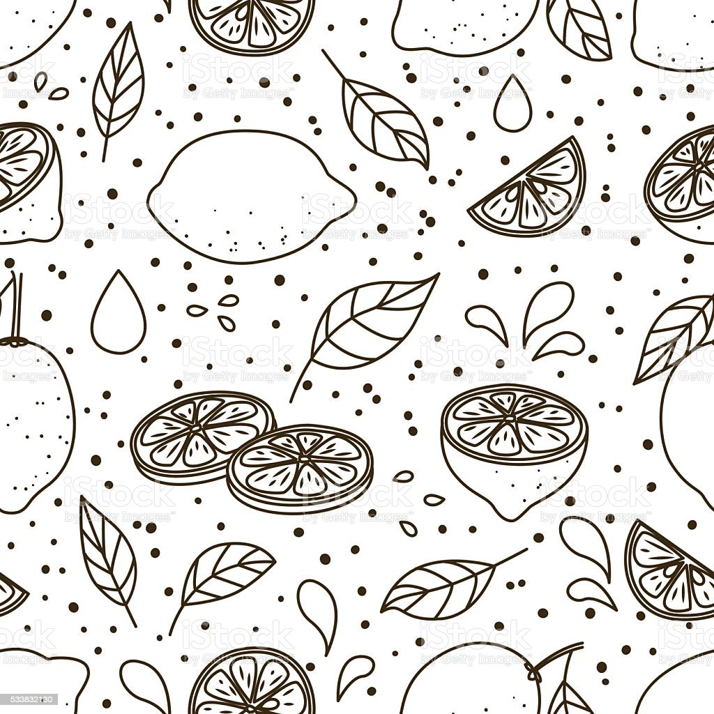 Seamless pattern with juicy lemons vector art illustration