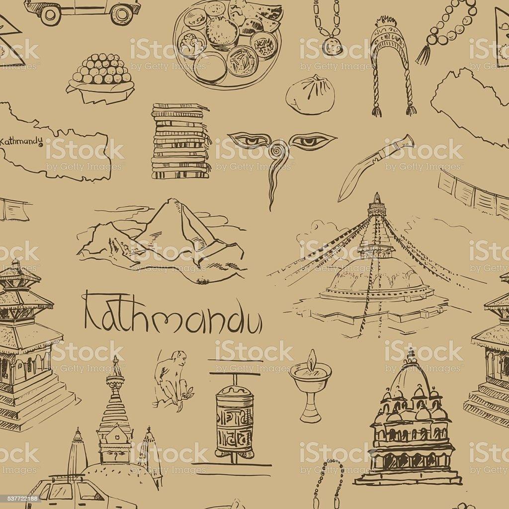 seamless pattern with Kathmandu sights. vector art illustration
