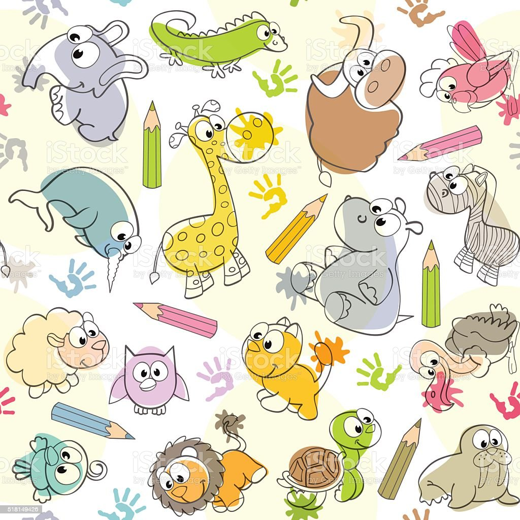 seamless pattern with  kids' drawings of animals vector art illustration