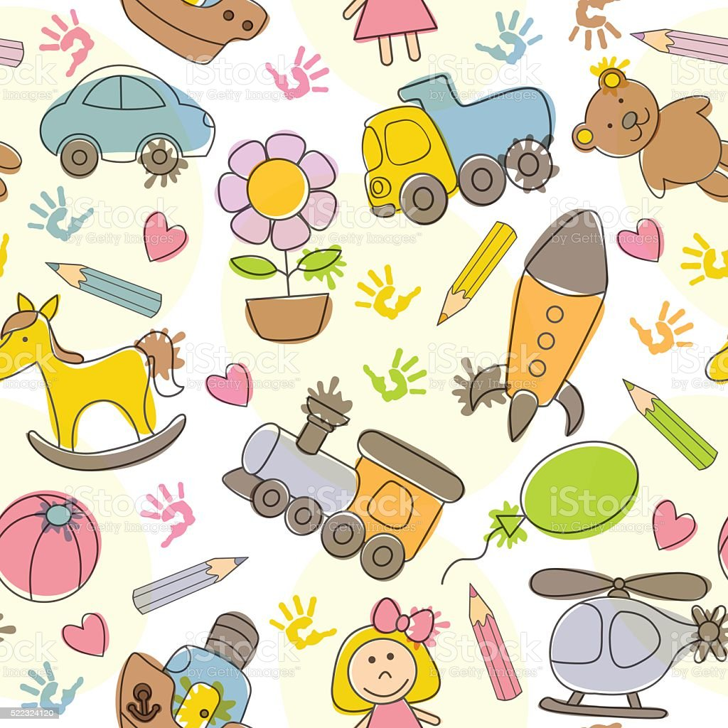 seamless pattern with  kids' drawings vector art illustration