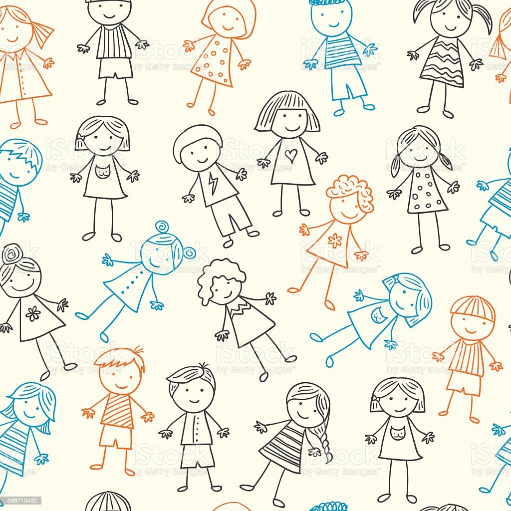 Seamless pattern with kids royalty-free stock vector art