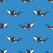 Seamless pattern with killer whales or orcas in the sea.