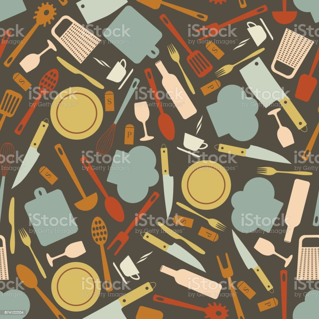 seamless pattern with kitchen items vector art illustration