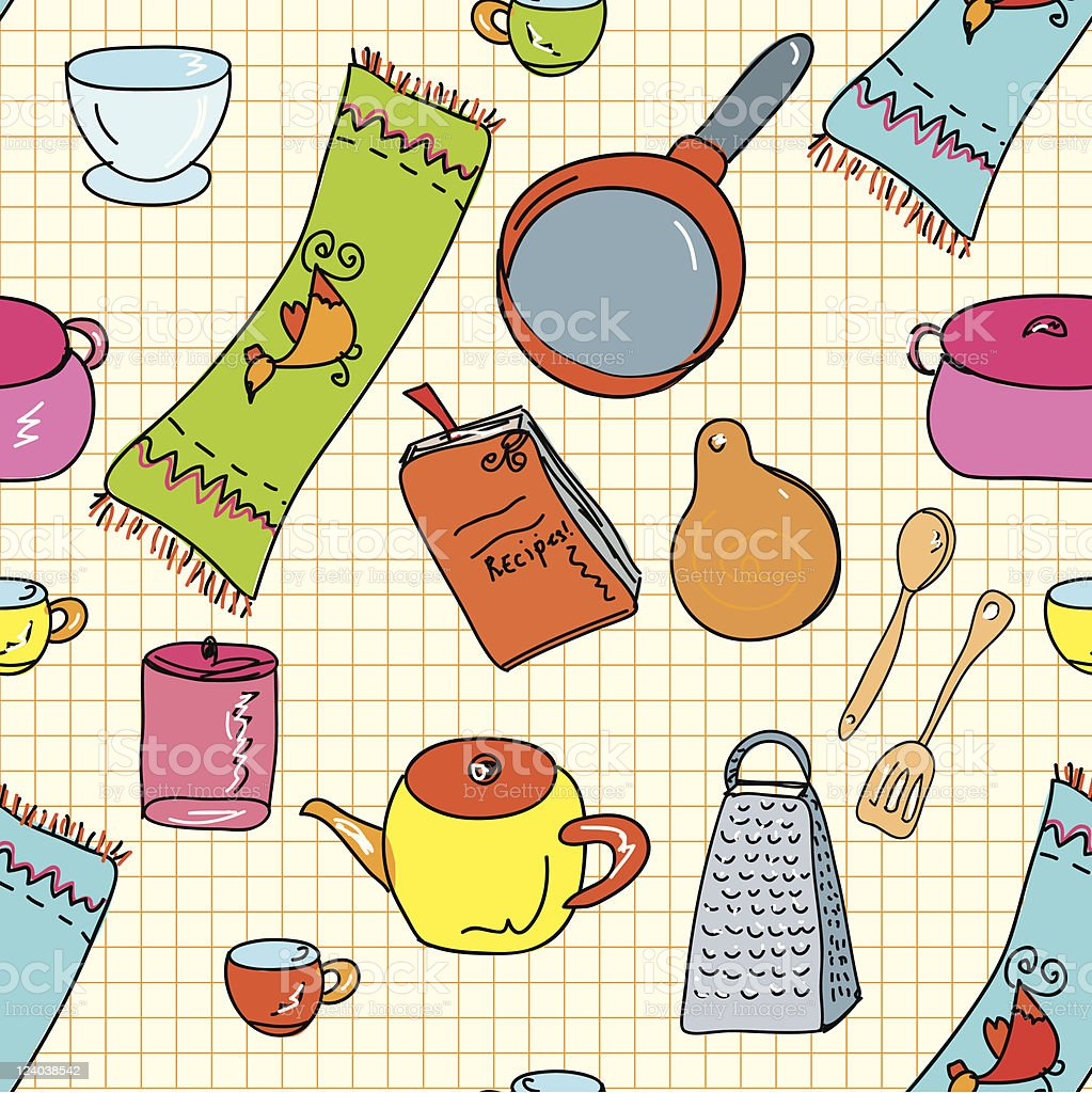 Seamless pattern with kitchen objects royalty-free stock vector art
