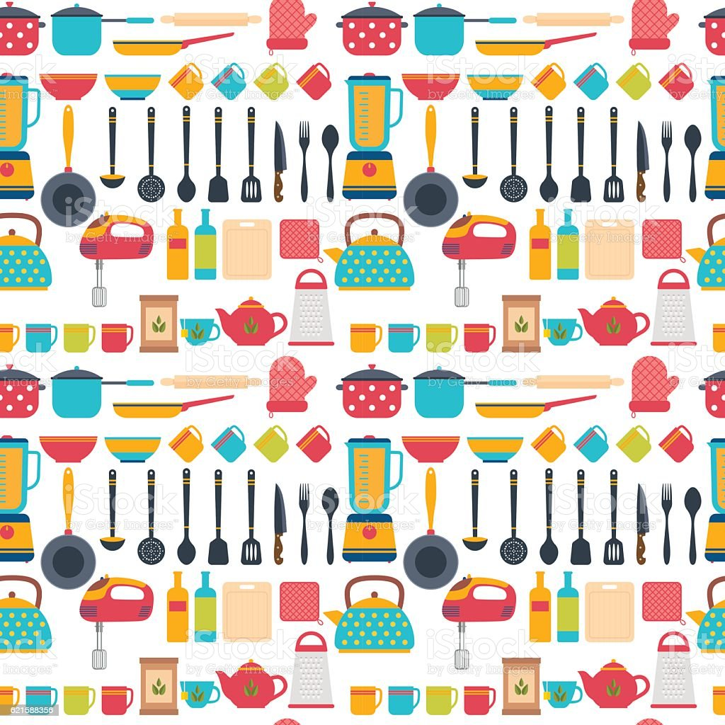 Uncategorized Kitchen Utensils And Appliances seamless pattern with kitchen utensils home appliances stock royalty free vector art