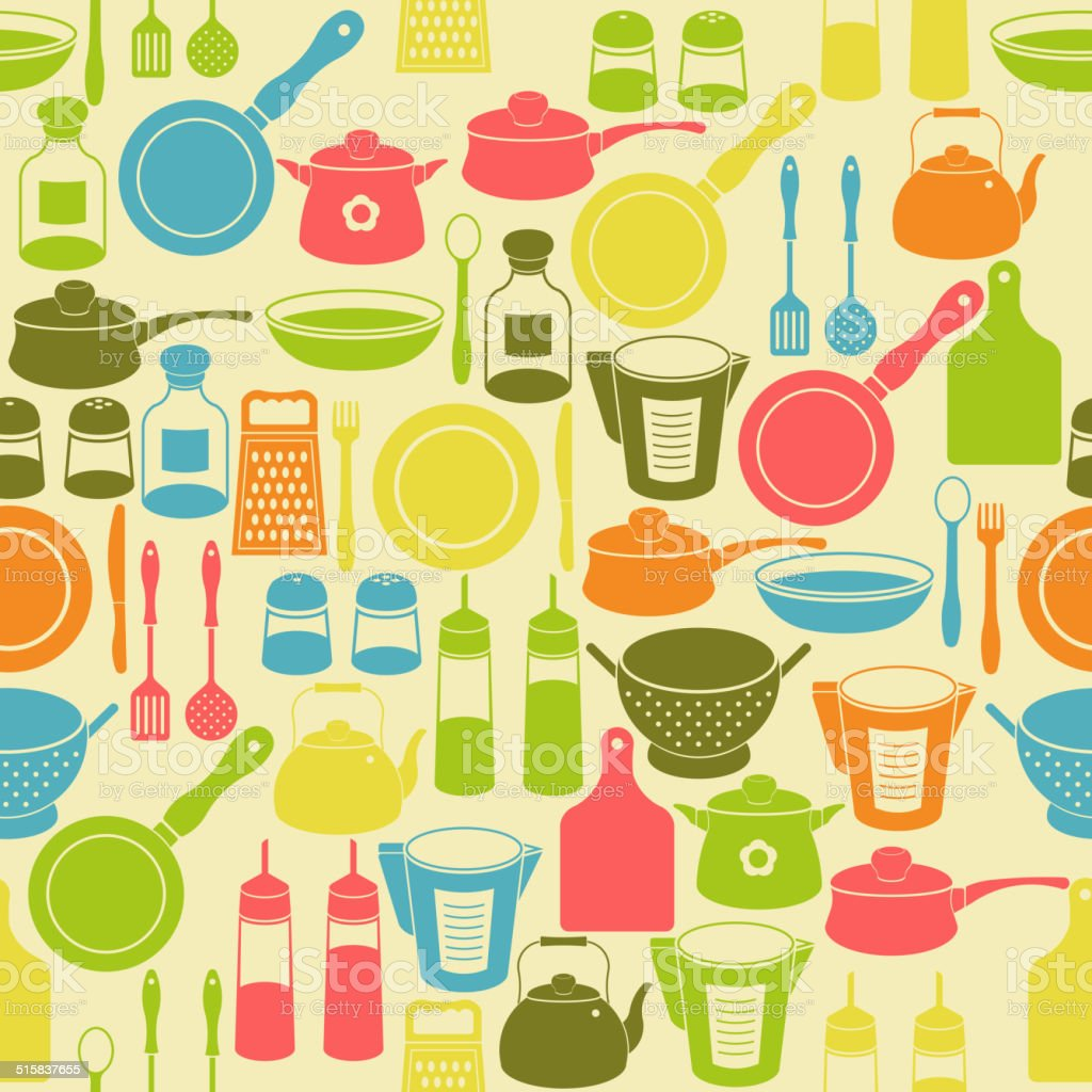 Seamless pattern with kitchen utensils vector art illustration