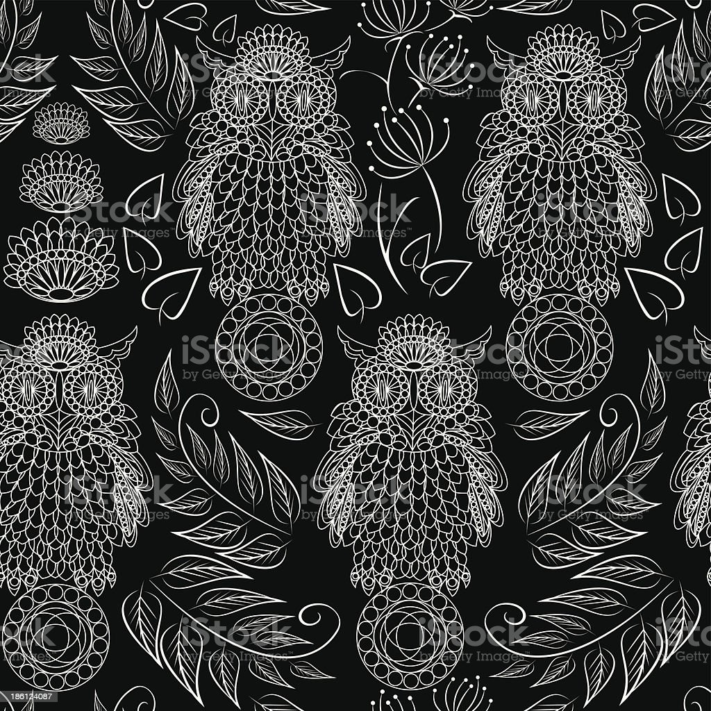 seamless pattern with lace decorative owls royalty-free stock vector art