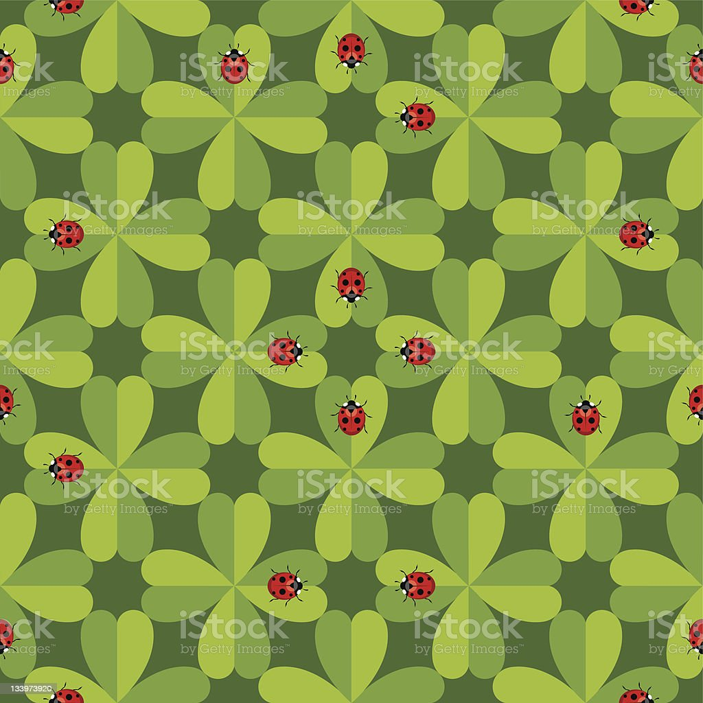 Seamless pattern with ladybug vector art illustration