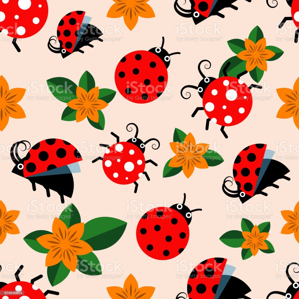 Seamless pattern with ladybugs and flowers vector art illustration
