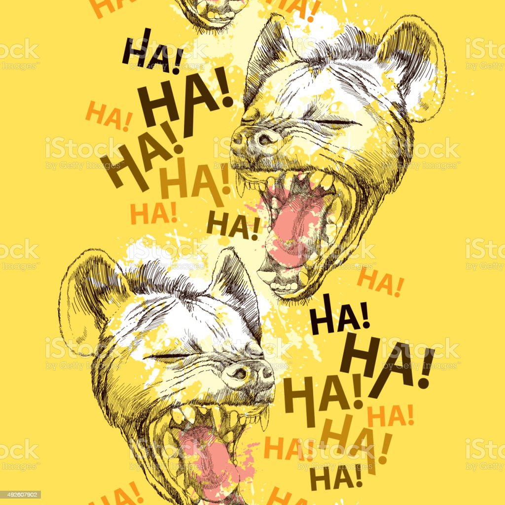Seamless pattern with laughing hyena and blots vector art illustration