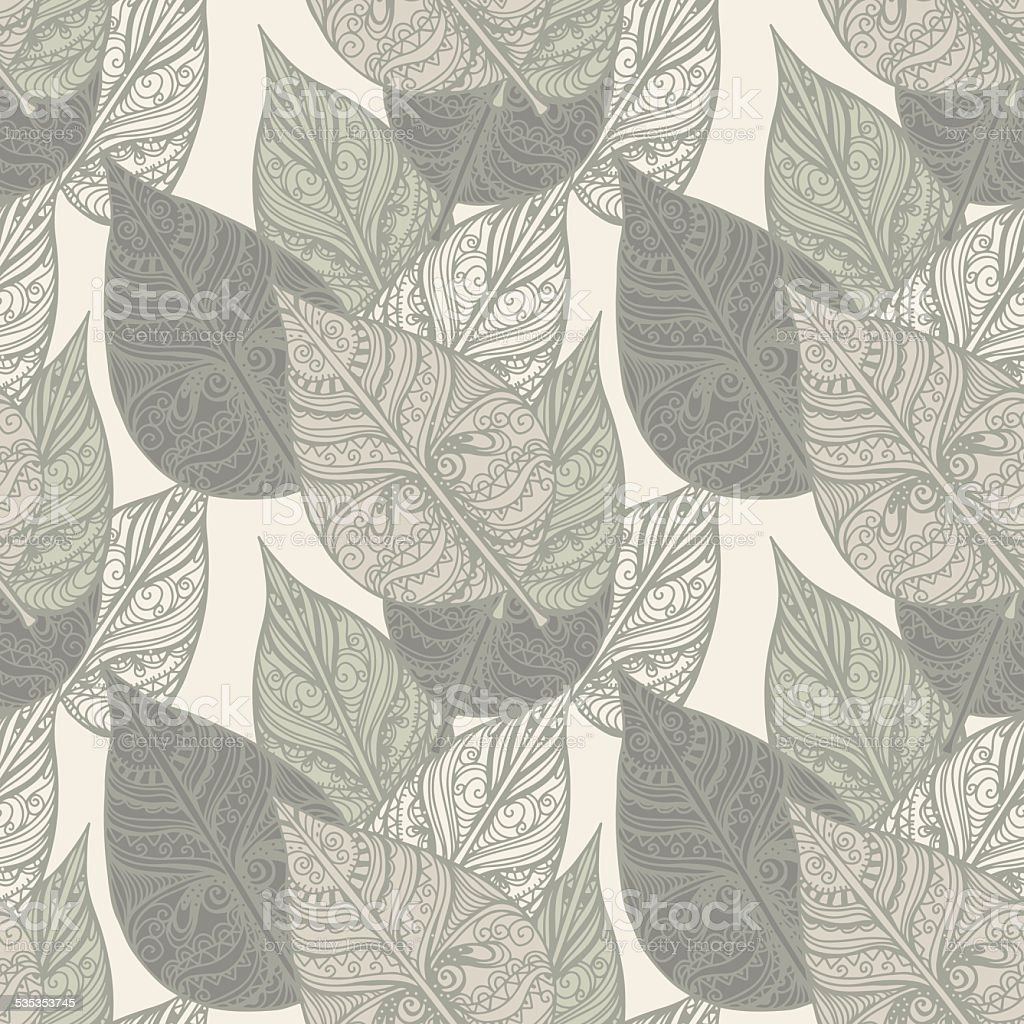 Seamless pattern with leafs vector art illustration