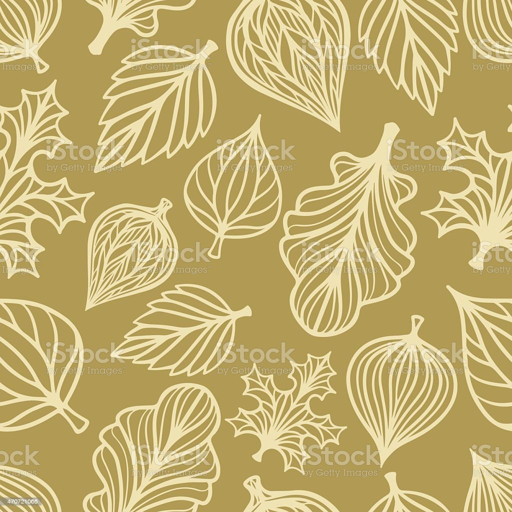 Seamless pattern with leaves vector art illustration