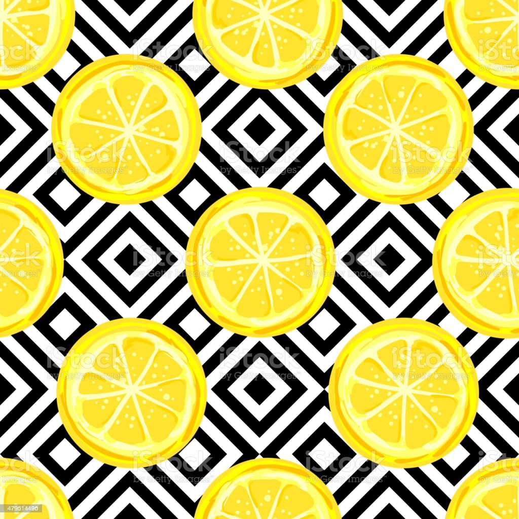 Seamless pattern with lemon slice vector art illustration