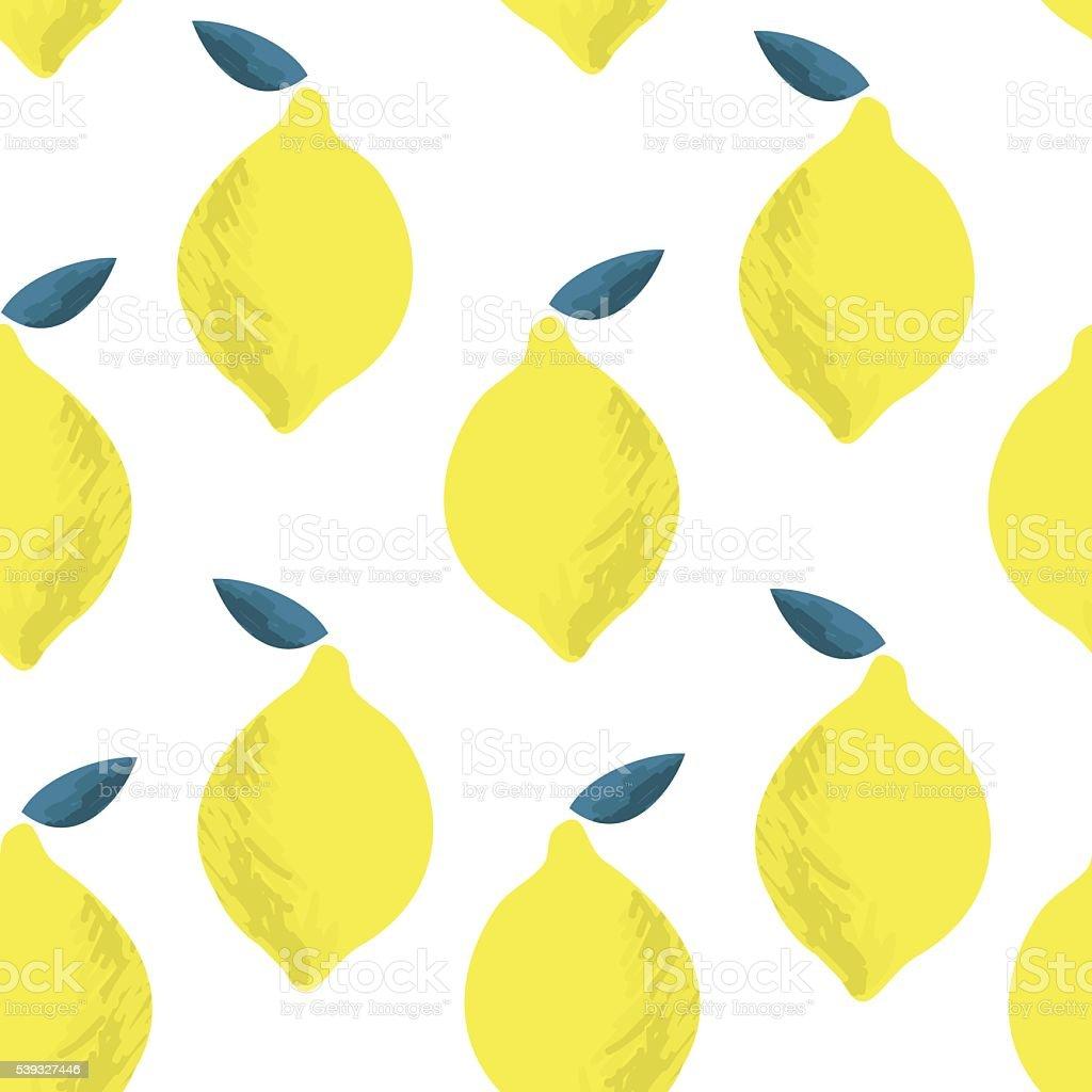 Seamless pattern with lemons on the white background. Vector illustration. vector art illustration