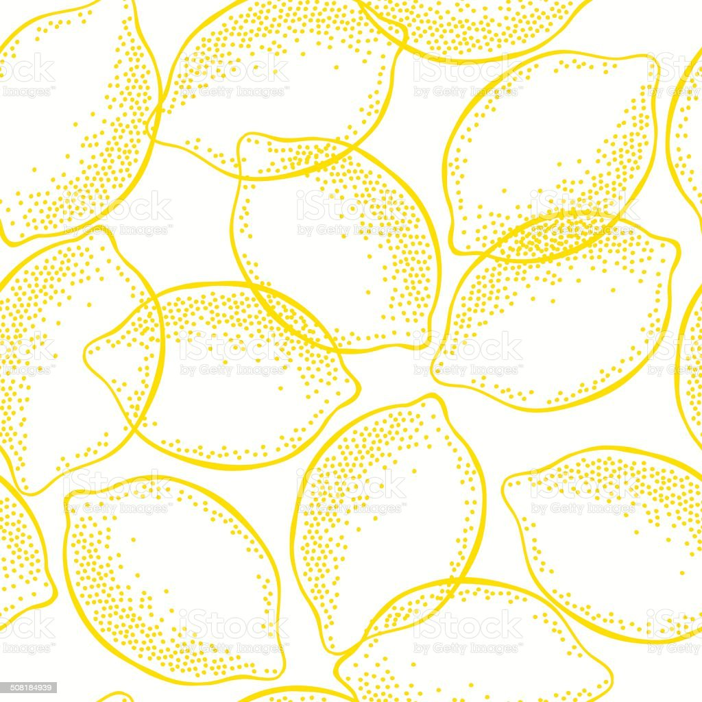 Seamless pattern with  lemons . vector art illustration