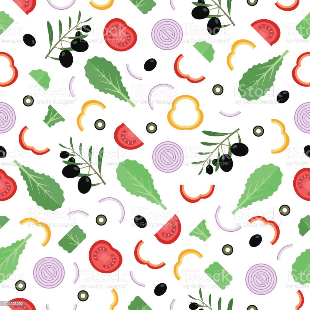Seamless pattern with lettuce leaves, tomatoes, olives, peppers and onions. vector art illustration
