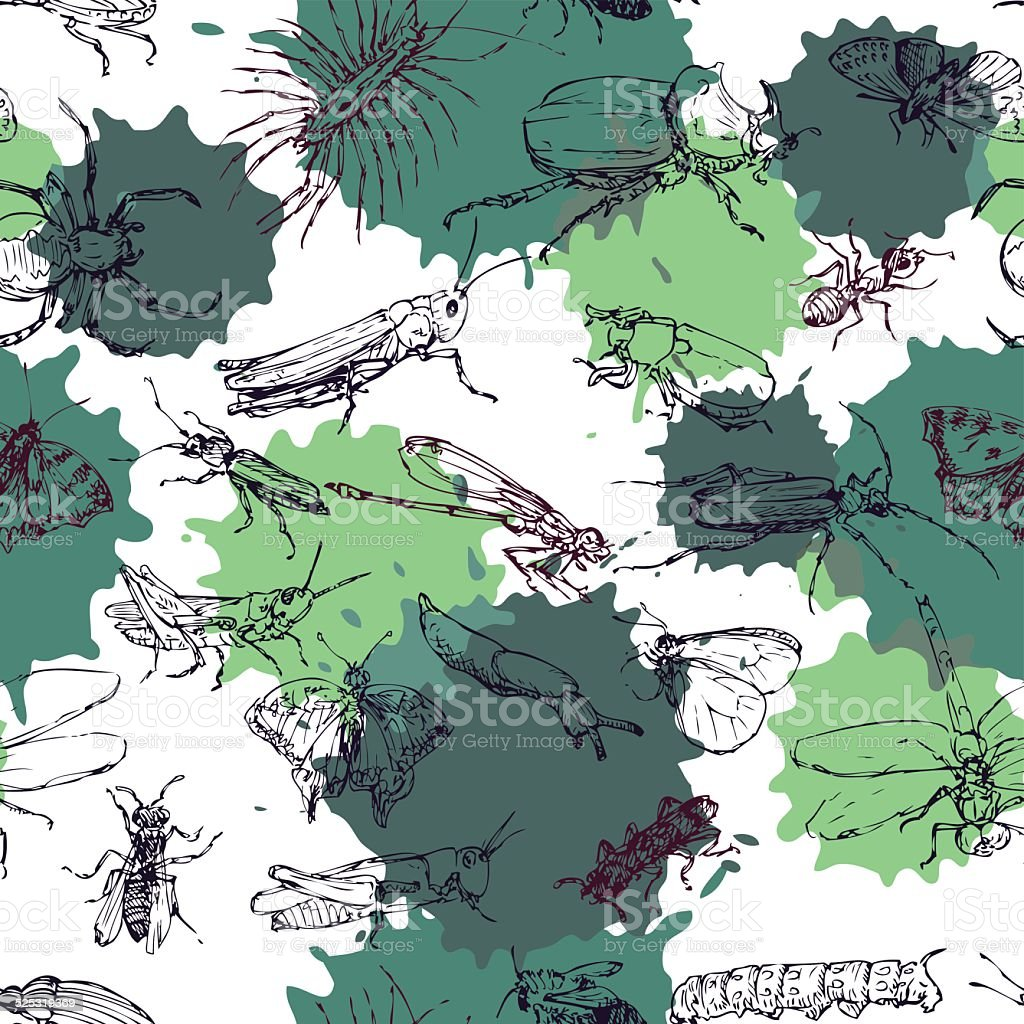 seamless pattern with line drawing insects stock vector art