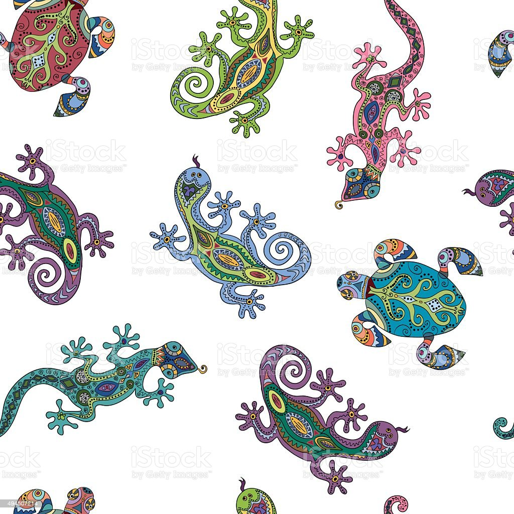 Seamless pattern with lizards and turtles. vector art illustration