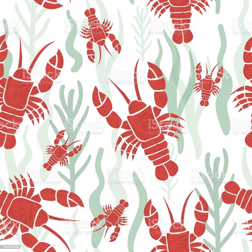 Seamless pattern with lobster. Marine texture with lobster, seaweed. vector art illustration