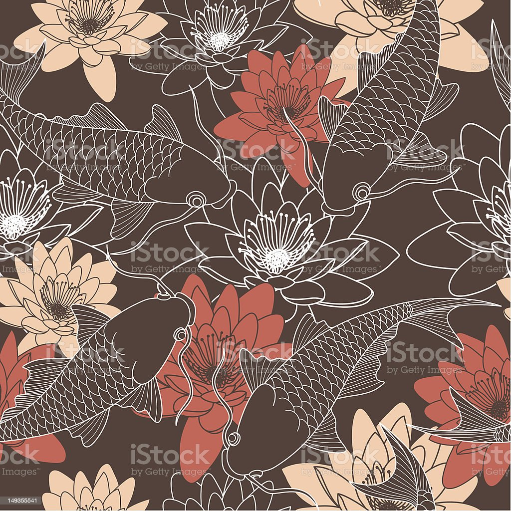 seamless pattern with lotus and chinese carps vector art illustration