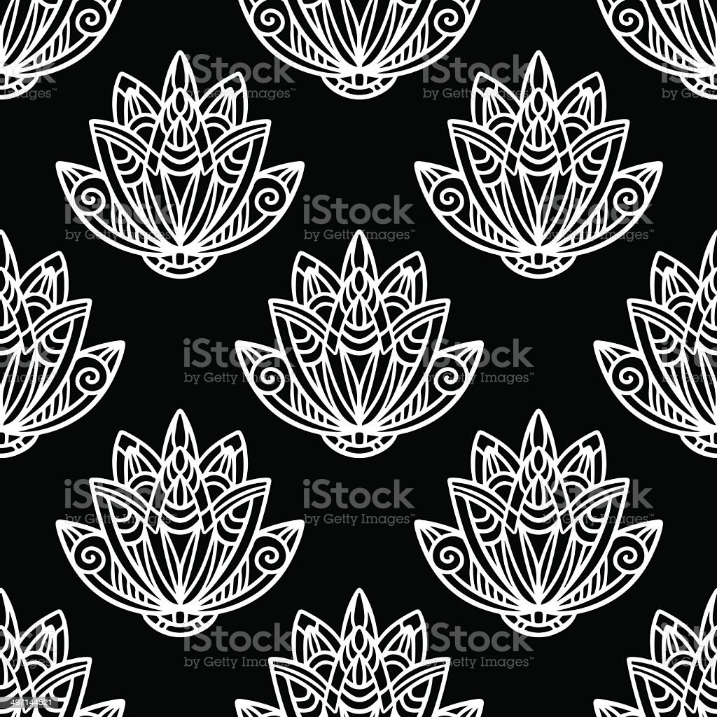 Seamless pattern with lotus flowers royalty-free stock vector art