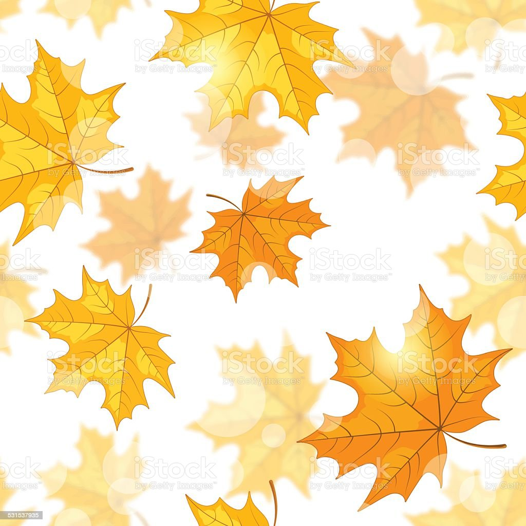 Seamless pattern with maple leaves vector art illustration