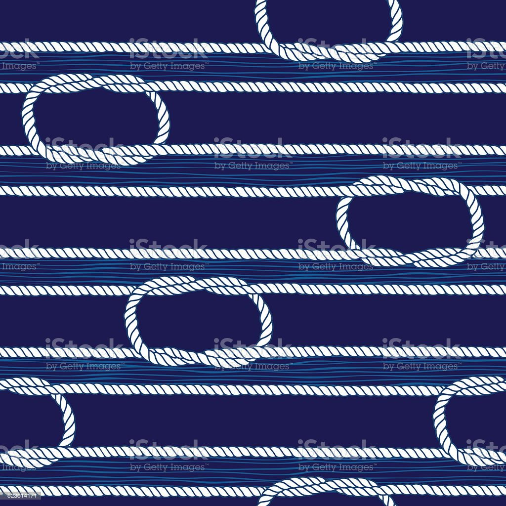 Seamless pattern with marine rope and knots. vector art illustration