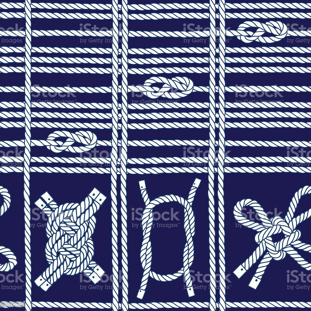 Seamless pattern with marine rope and knots . vector art illustration
