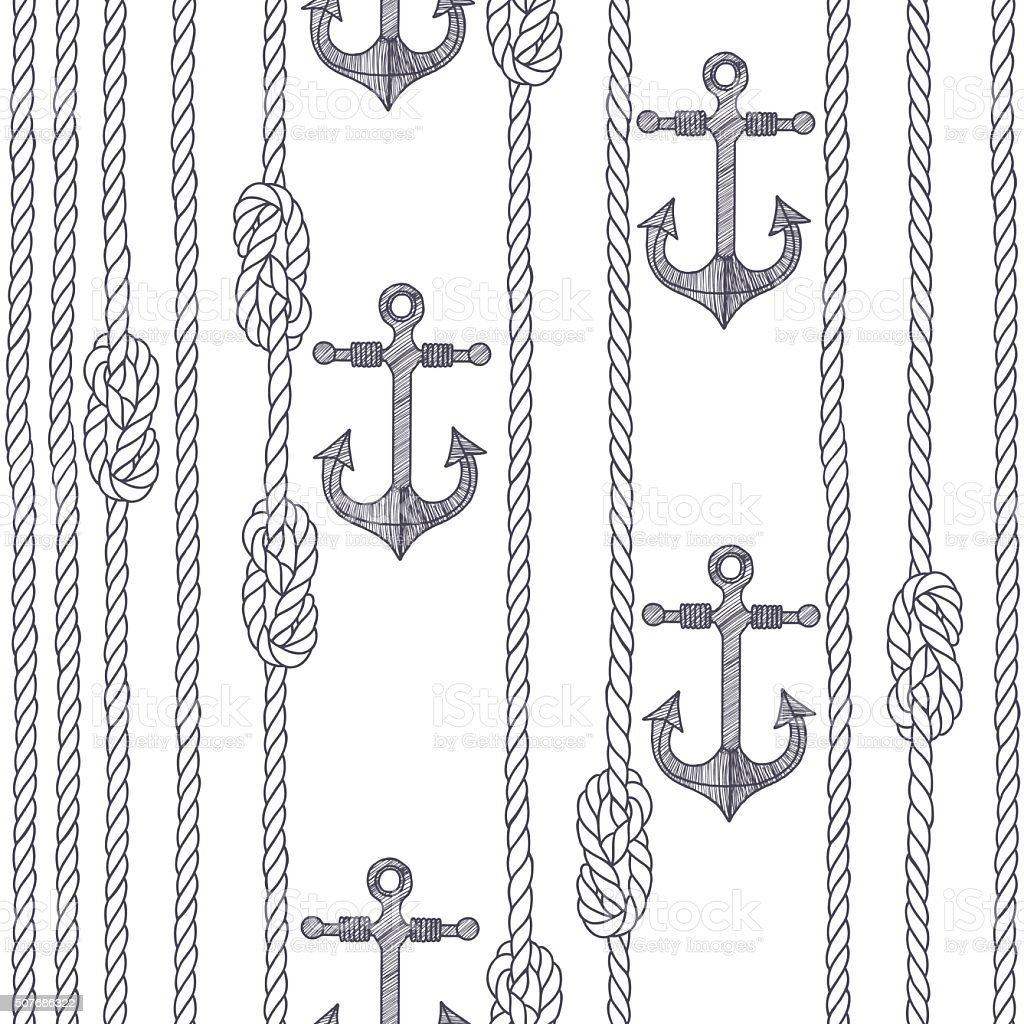 Seamless pattern with marine rope, knots and anchors. vector art illustration