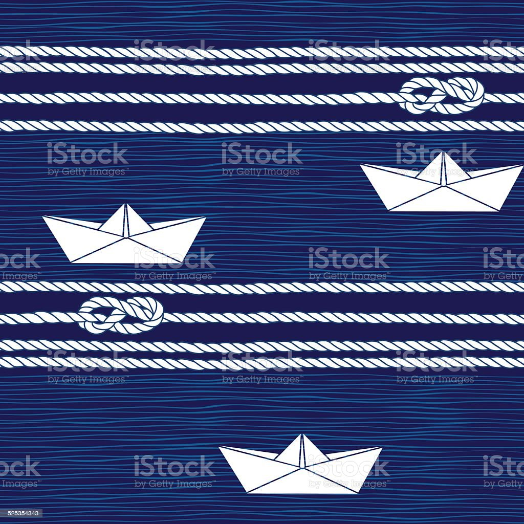 Seamless pattern with marine rope, knots and boats . vector art illustration