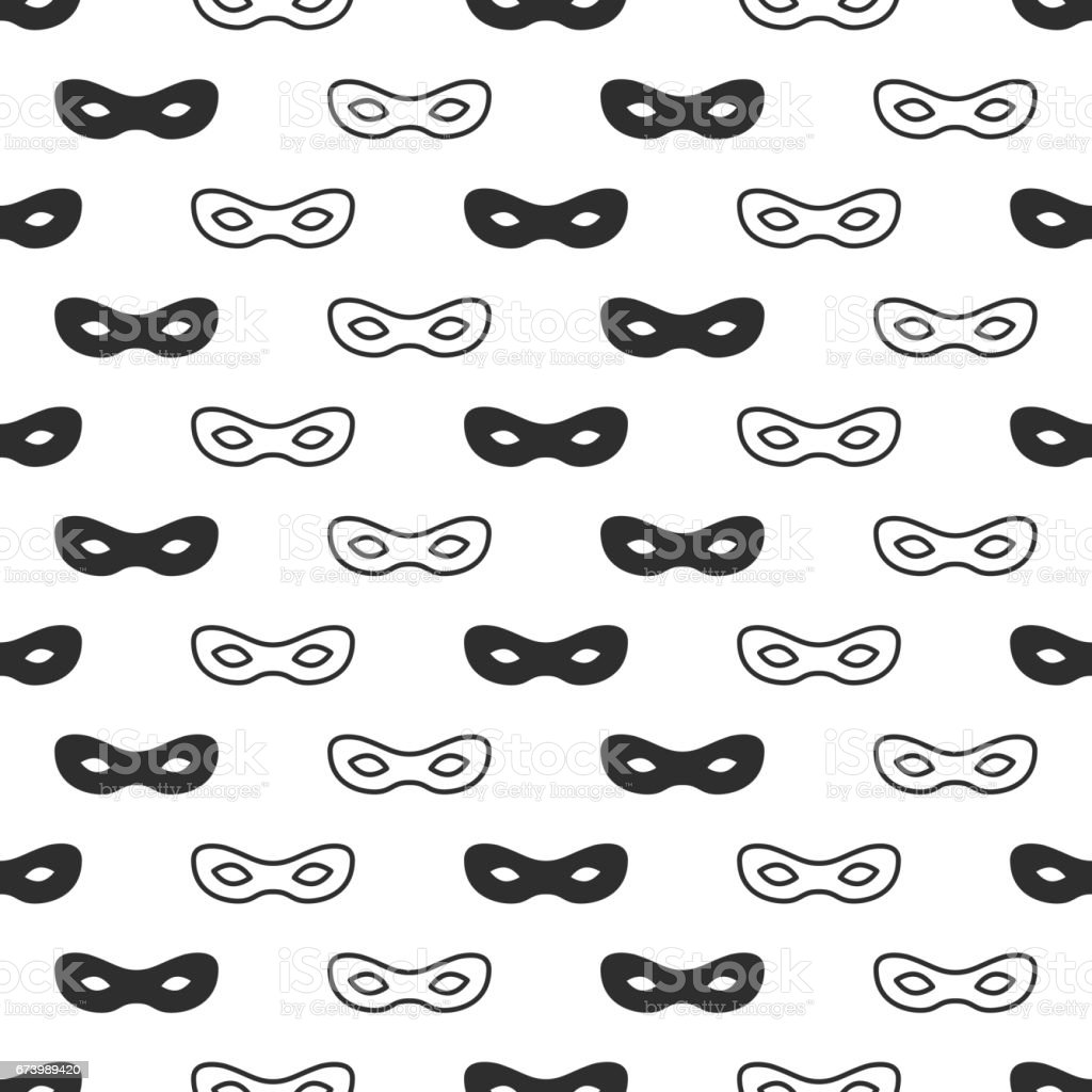 Seamless pattern with mask. Black and white carnival simple design. Superhero mask. Traditional venetian festive carnival icon. Masquerade. Vector illustration. Background. Texture. Symbols pictogram vector art illustration