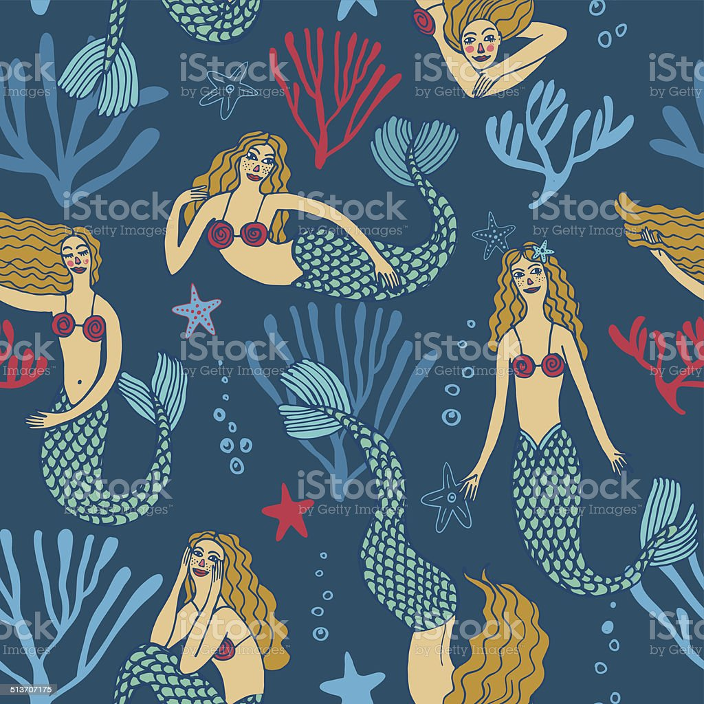 Seamless pattern with mermaids vector art illustration
