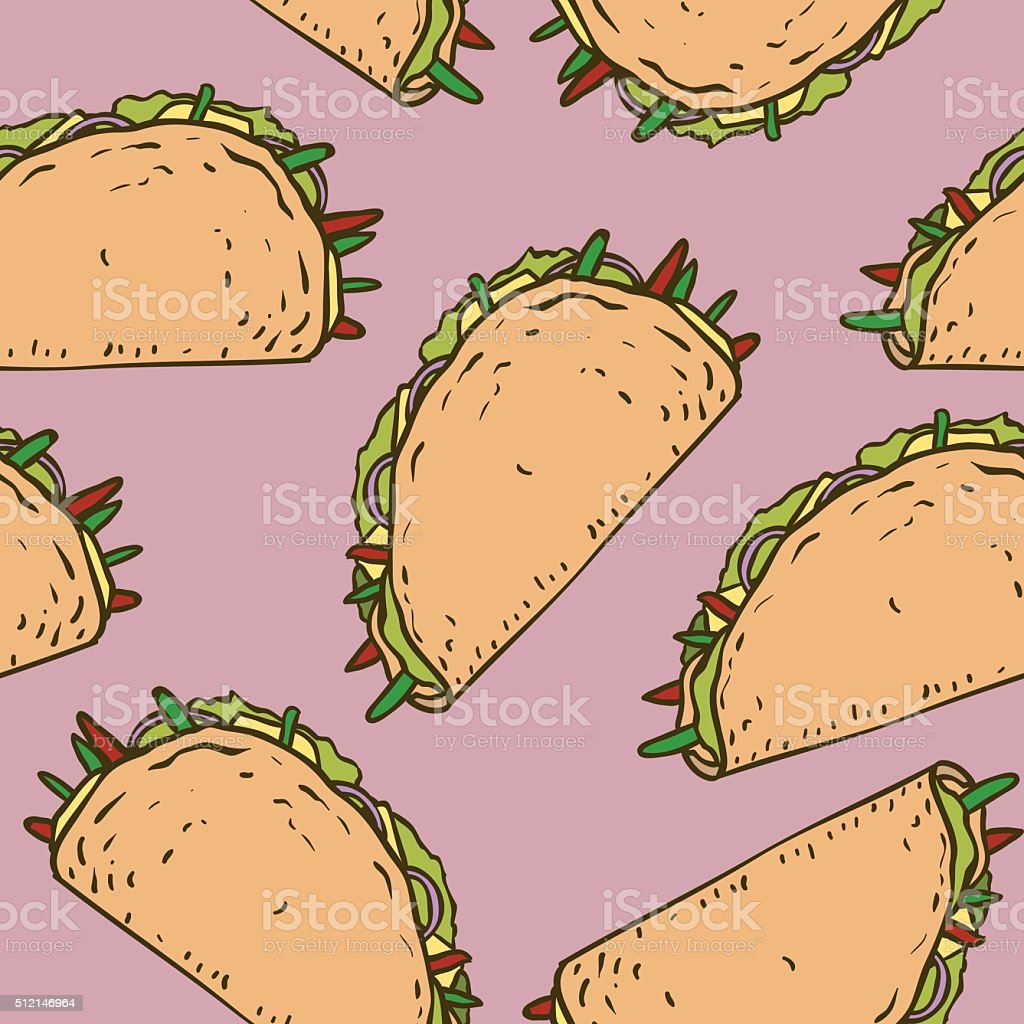 Seamless Pattern with Mexican Taco in Wheat Tortilla vector art illustration