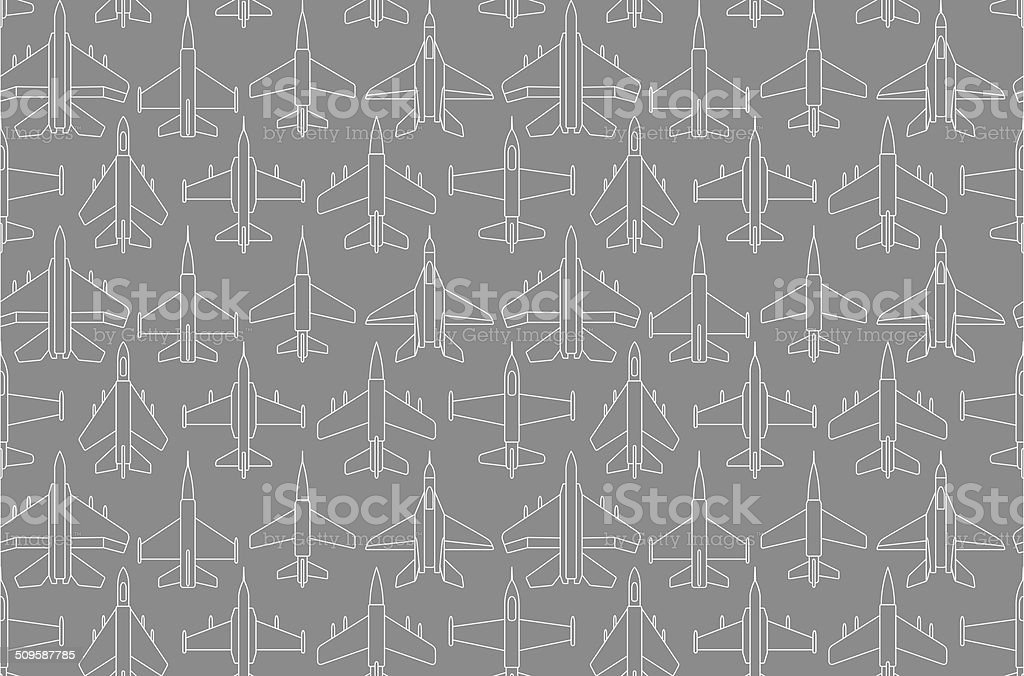 seamless pattern with military airplanes 01 vector art illustration