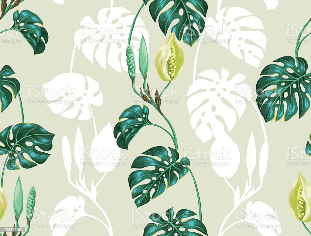Seamless pattern with monstera leaves. Decorative image of tropical foliage vector art illustration
