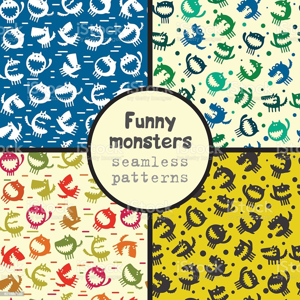 seamless pattern with monsters vector illustration royalty-free stock vector art