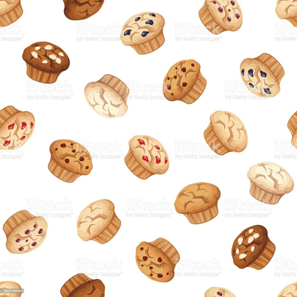 Seamless pattern with muffins. Vector illustration. vector art illustration