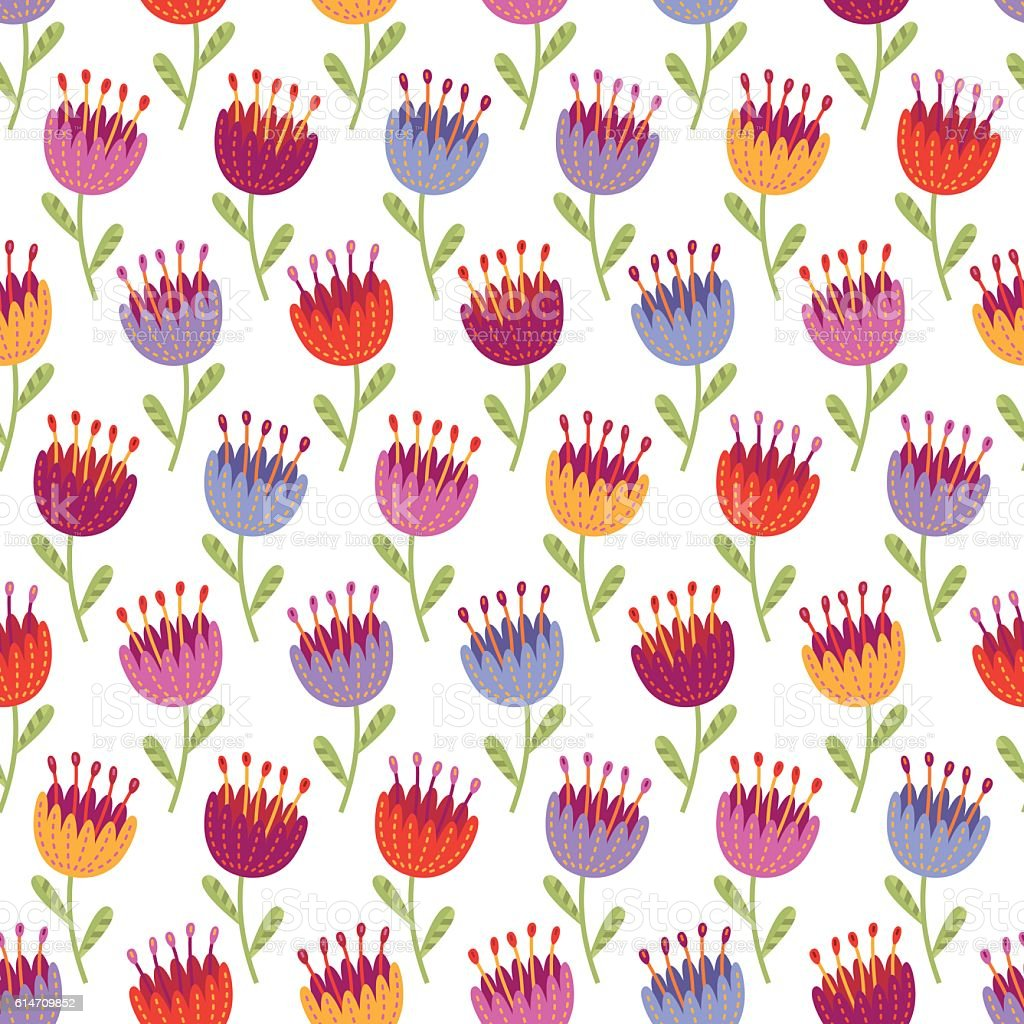 Seamless pattern with multicolored flowers vector art illustration