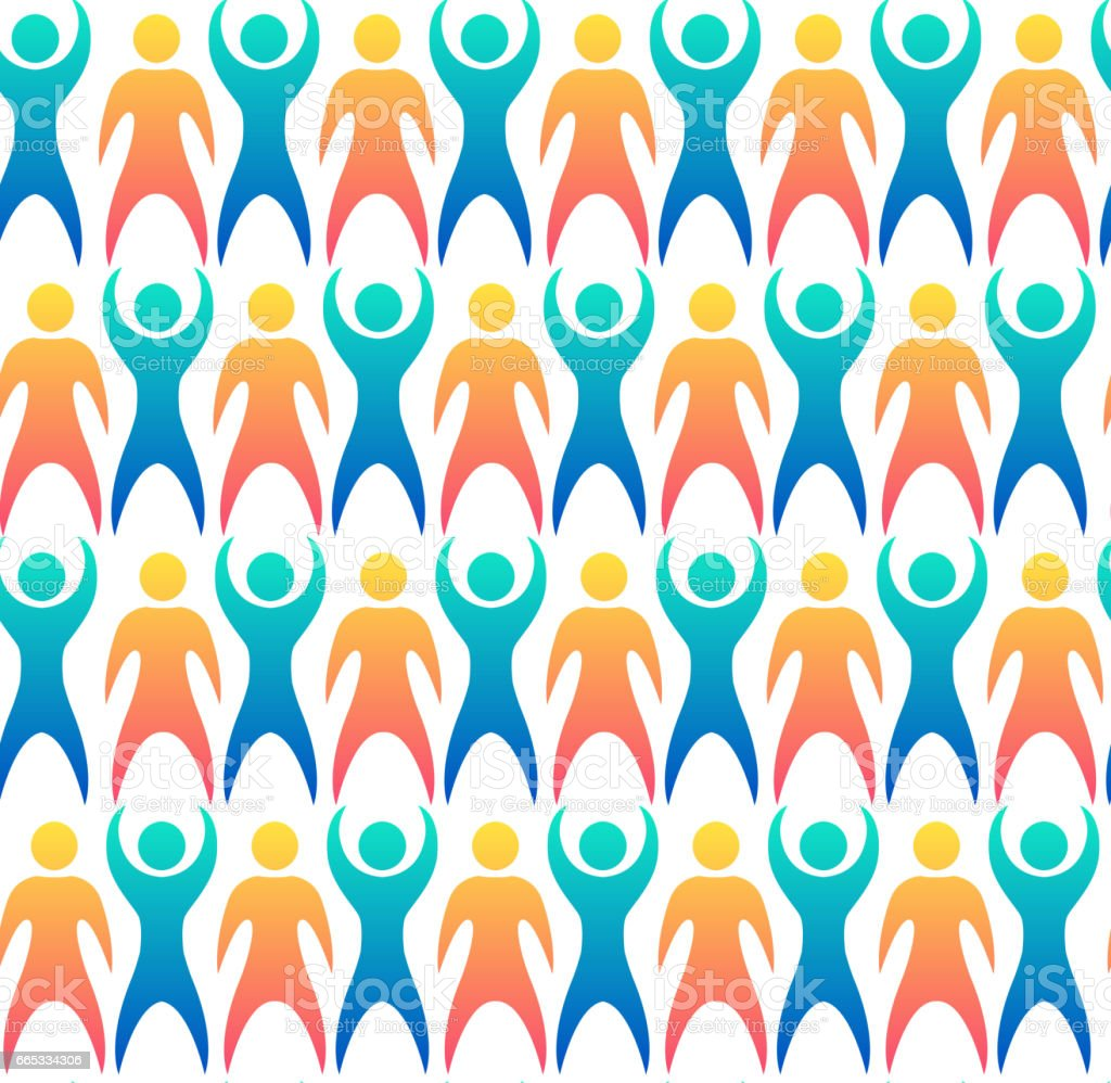 Seamless pattern with multicolored people. Vector texture for wrapping paper, wallpaper and your creativity vector art illustration