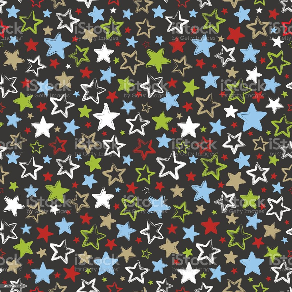 Seamless pattern with multicolored stars on dark background vector art illustration