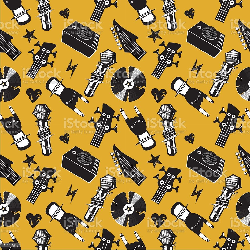 Seamless pattern with music elements. Rock and roll background vector art illustration