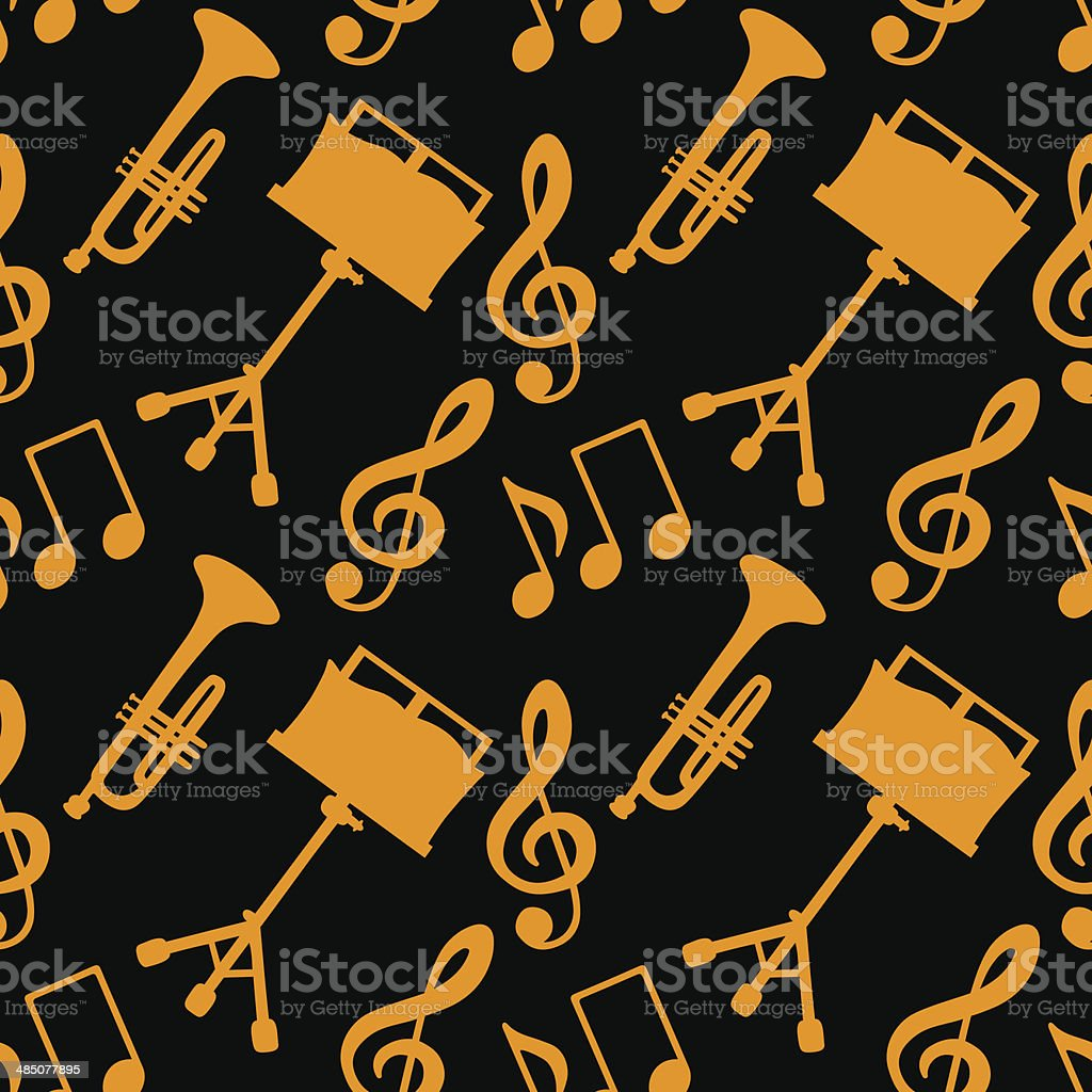Seamless pattern with musical notes, treble clef, trumpet, music stand royalty-free stock vector art