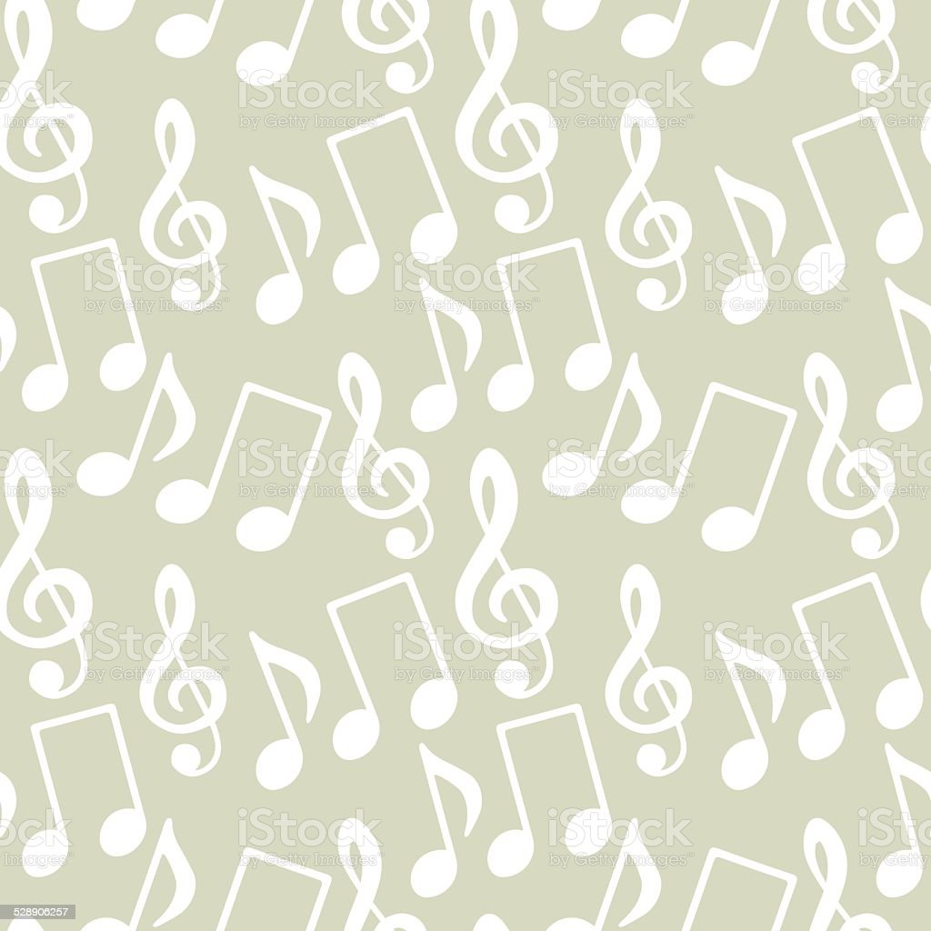 Seamless pattern with musical notes, treble clef vector art illustration