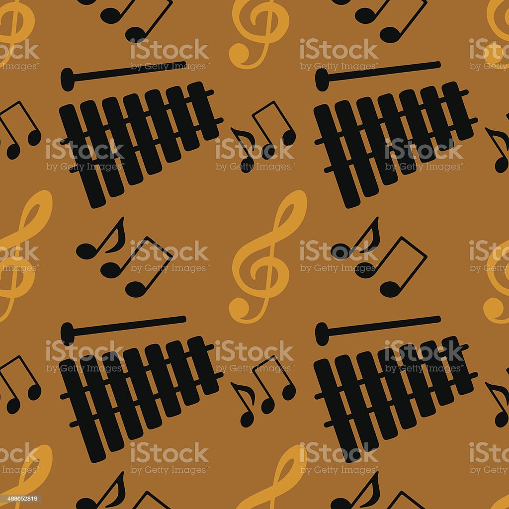 Seamless pattern with musical notes, treble clef, xylophone royalty-free stock vector art