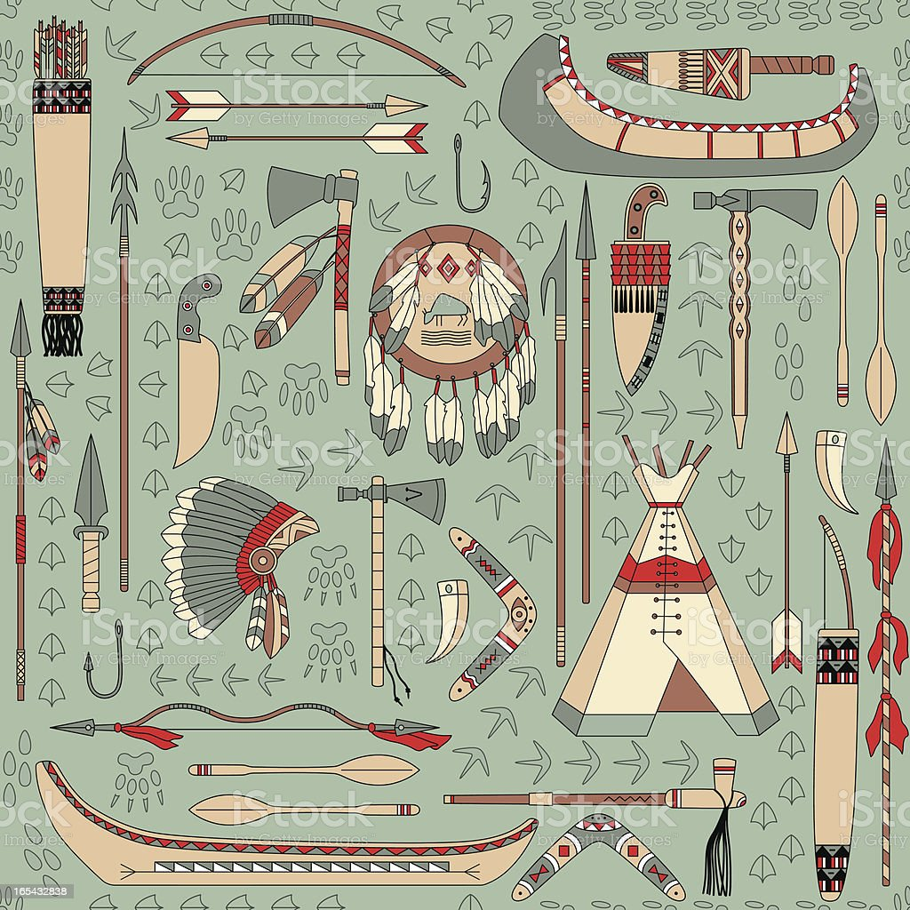 seamless pattern with Native American attributes royalty-free stock vector art