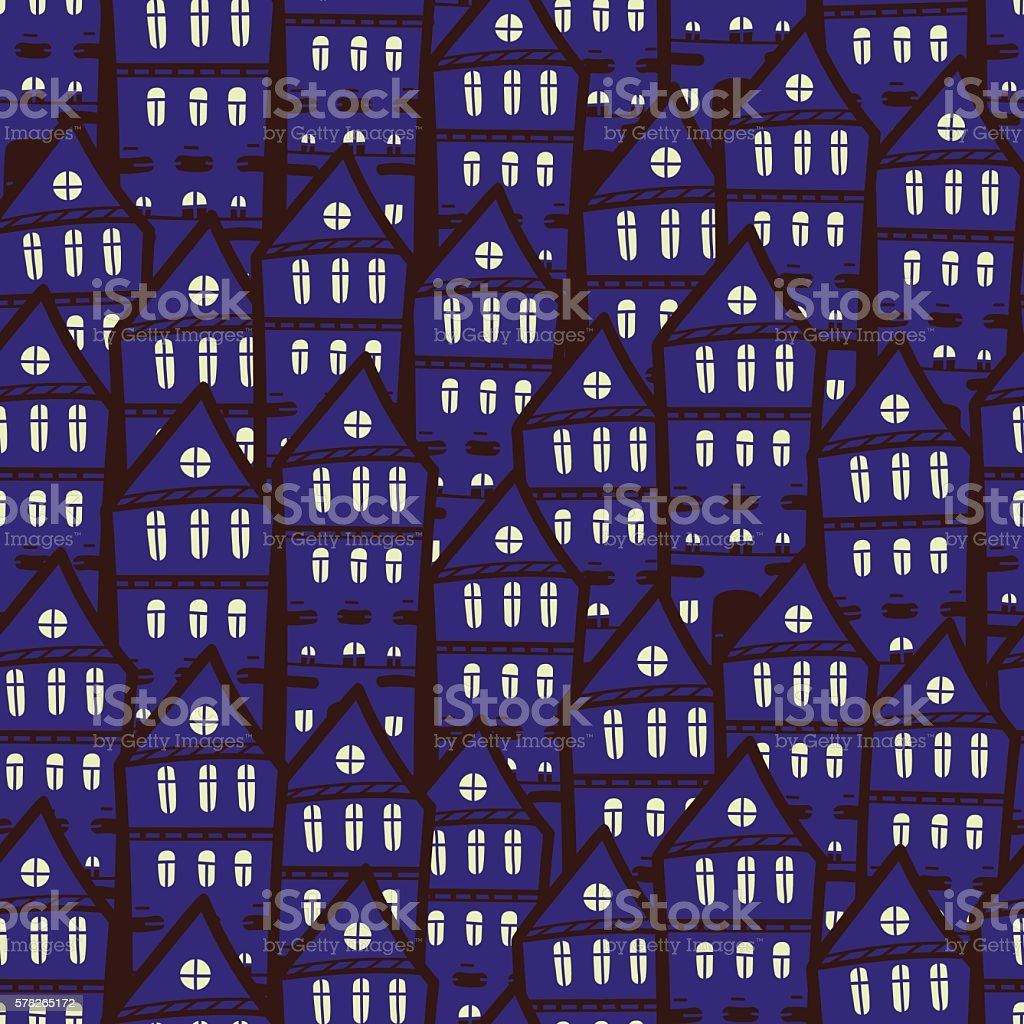 Seamless pattern with night town. vector art illustration